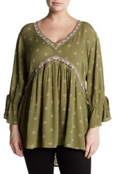 Stony Printed Woven Blouse Plus Size Green