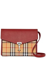 Burberry Small Macken Checked Leather Bag Bordeaux