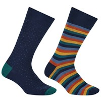 John Lewis Made In Italy Bold Stripe Birdseye Socks Pack Of 2 Navy Multi