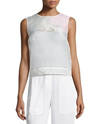 Monique Lhuillier Metallic Cloque Sleeveless Shell Women's