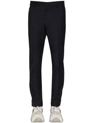 Valentino 17Cm Wool And Mohair Pants Navy