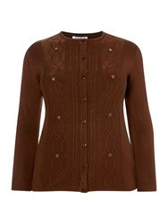 Annabelle Plus Size Cardigan With Beaded Pattern Brown