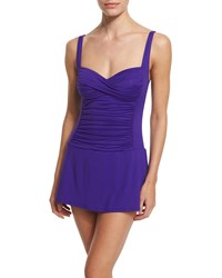 Lablanca Plus Size Ruched Sweetheart Swimdress Grape
