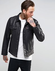 Levi's Black Leather Trucker Jacket Blk Buffalo Lthr