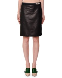 Prada Logo Band Knee Length Leather Skirt Black