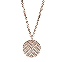 Fossil Chevron Pattern Glitz Pendant Necklace Rose Gold