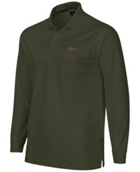 Greg Norman For Tasso Elba Big And Tall 5 Iron Long Sleeve Performance Polo Ultra Olive