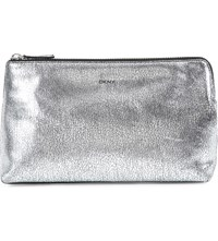 Dkny Cracked Metallic Leather Clutch Silver