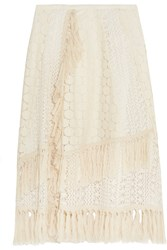 See By Chloe Tasseled Crocheted Lace Skirt Off White