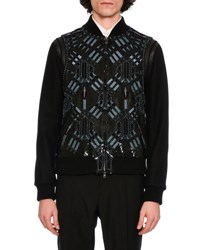 Valentino Love Blade Leather And Wool Bomber Jacket Black