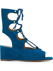 Chloe Wedged Lace Up Sandals Blue