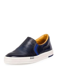 Berluti Scritto Calf Leather Slip On Sneaker Navy