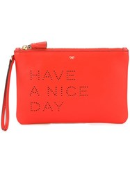 Anya Hindmarch 'Have A Nice Day' Clutch Red