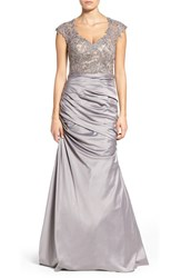 La Femme Women's Embellished Lace And Satin Mermaid Gown Silver