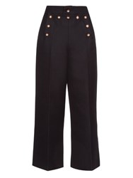 Marc Jacobs Embellished Wool And Silk Blend Sailor Trousers Navy