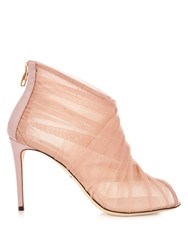 Dolce And Gabbana Pleated Tulle Open Toe Ankle Boots Light Pink
