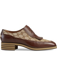 Gucci Leather And Gg Brogue Shoes Brown