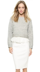 Derek Lam 2 In 1 Ruffle Sweatshirt Grey White