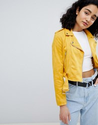 Bershka Suede Biker In Yellow