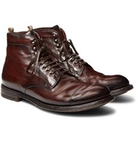 Officine Creative Anatomia Cap Toe Distressed Leather Boots Brown
