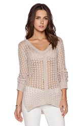 Autumn Cashmere Mesh V Neck Sweater With Side Slits Gray
