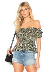 Bcbgeneration Smocked Crop Top Blue