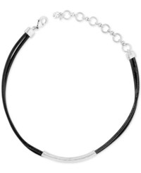 Lucky Brand Silver Tone Black Leather Choker Necklace