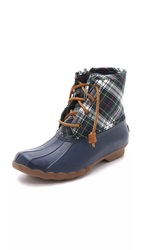 Sperry Saltwater Plaid Booties Navy Green