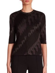 Akris Three Quarter Sleeve Jacquard Knit Cardigan Black Lurex