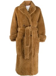 L'autre Chose Belted Single Breasted Coat Brown
