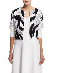 Josie Natori Short Sleeve Embroidered Bolero Ecru