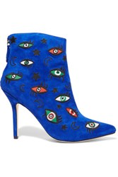 Isa Tapia Juliette Embroidered Suede Ankle Boots Blue