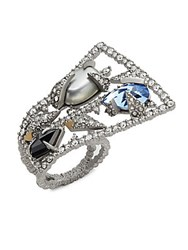 Alexis Bittar Shell Pearl Swarovski Crystal Indian Blue Sapphire And 10K White Gold Mosaic Lace Fan Ring Silver