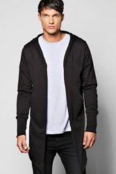 Boohoo Longline Hooded Cardigan With Extended Cuff Black