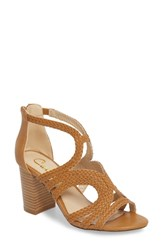 Callisto Shindig Block Heel Sandal Tan Fabric