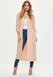 Missguided Pink Satin Detail Double Tie Front Duster Jacket