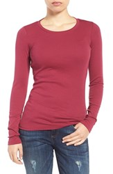 Caslonr Women's Caslon Long Sleeve Scoop Neck Cotton Tee Burgundy Beauty