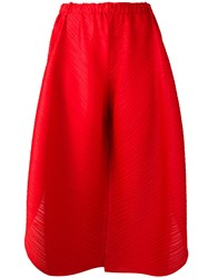 Issey Miyake Pleats Please By Wide Legged Cropped Trousers Red