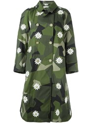 Ermanno Gallamini Daisy Printed Trench Coat Green