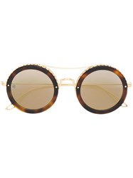 Elie Saab Round Shaped Sunglasses Brown