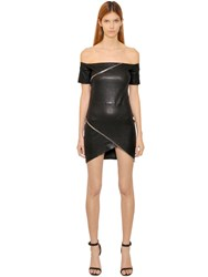 Rta Zip Details Nappa Leather Mini Dress