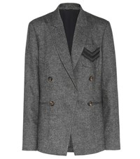 Brunello Cucinelli Embellished Wool And Cashmere Blazer Grey