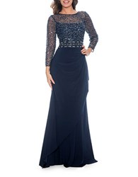 Decode 1.8 Sequin Gathered Gown Navy