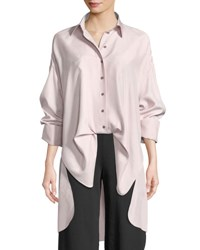 Valentino Button Front Long Sleeve Open Back Oversized Silk Blouse Lilac