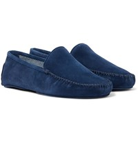 Thom Sweeney Suede Slippers Blue