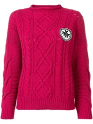 Mr And Mrs Italy Logo Cable Knit Sweater Pink
