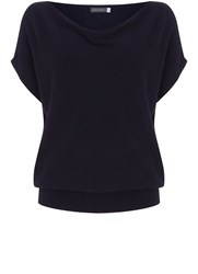 Mint Velvet Ink Short Sleeve Batwing Dark Blue