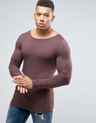 Asos Extreme Muscle Long Sleeve T Shirt With Boat Neck Red
