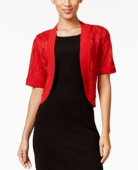 Ny Collection Pointelle Short Sleeve Bolero Cardigan True Red
