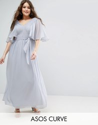 Asos Curve Lace Panelled Flutter Sleeve Maxi Dress Grey